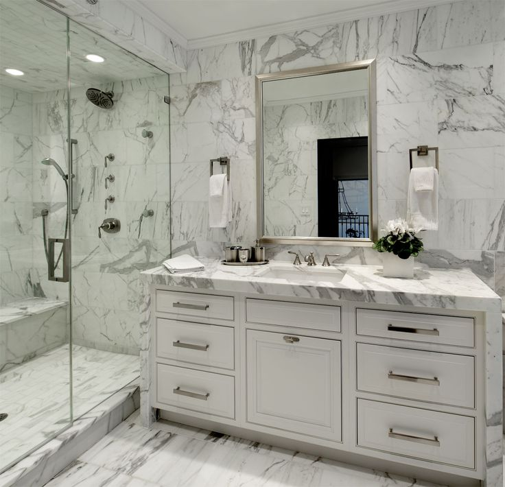 Bianco carrara marble transitional bathroom for Carrara marble bathroom floor designs