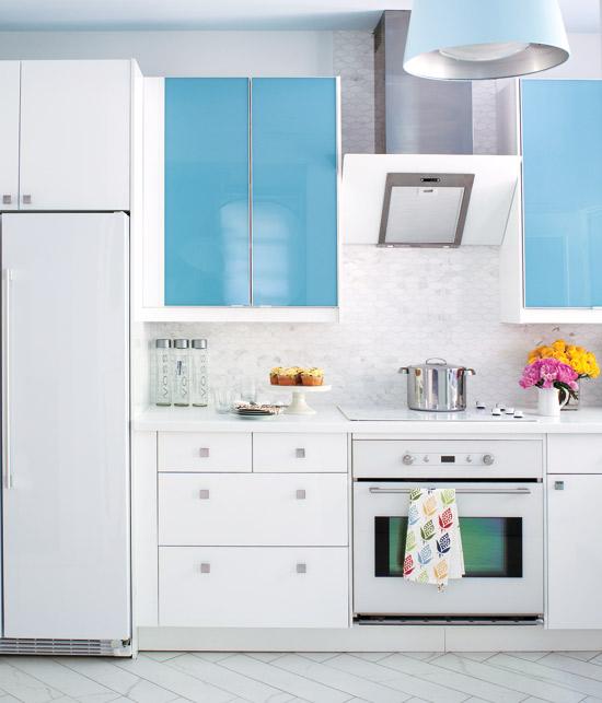 Blue kitchen cabinets contemporary kitchen beauti - Interesting colors modern kitchen ...