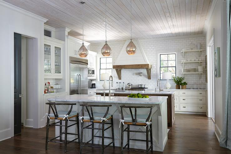 Mercury Glass Light Pendants Cottage Kitchen Tracery
