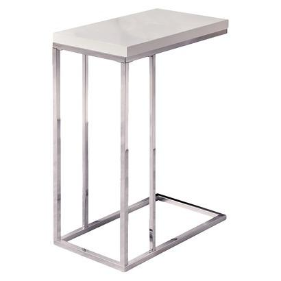 Moanrch C Shape Silver And White Metal Accent Table