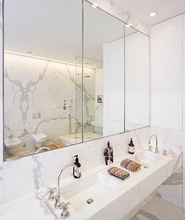 Calacatta statuario marble modern bathroom stone theatre for Stone bathroom bin