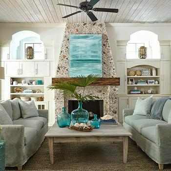 Pebble Fireplace, Cottage, living room, Tracery Interiors