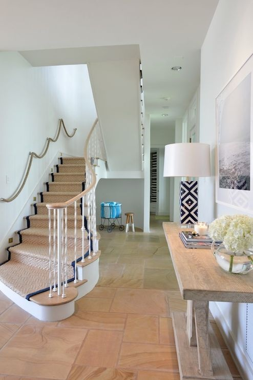 Rope Hand Rail Cottage Entrance Foyer Munger Interiors