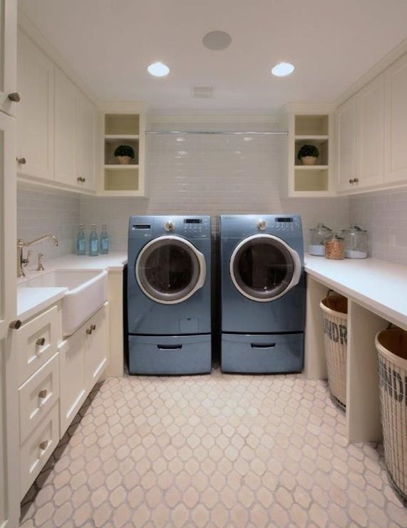 Washer and Dryer Tucked Under Marble Countertop - Transitional ...