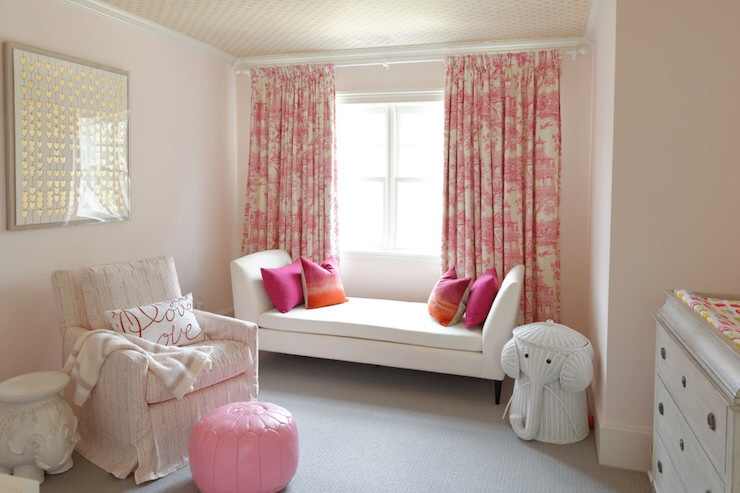 Fabulous Pink Toile Curtains - Transitional - nursery - Meredith Heron Design UH23