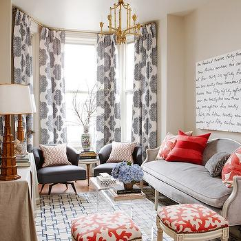 Beige Sofa With Blue Moroccan Tile Rug