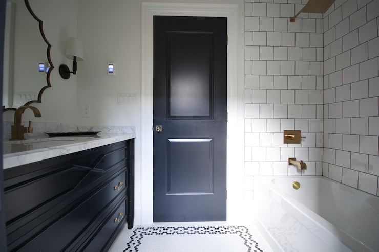 White Bathroom Door black bathroom door - modern - bathroom