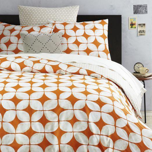 Leaf Motif Orange And White Duvet Cover And Shams