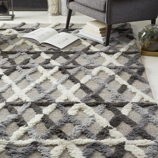 steven alan crisscross grey shag wool rug