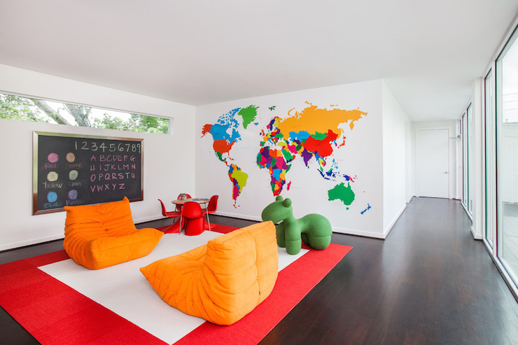 Playroom Chairs Contemporary Boys Room Laura U Interior Design - World map for playroom