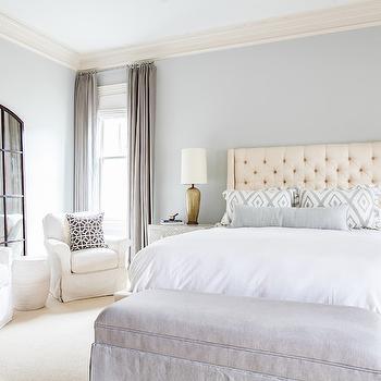 Cream Tufted Headboard, Transitional, bedroom, Sherwin Williams Front Porch, Laura U Interior Design