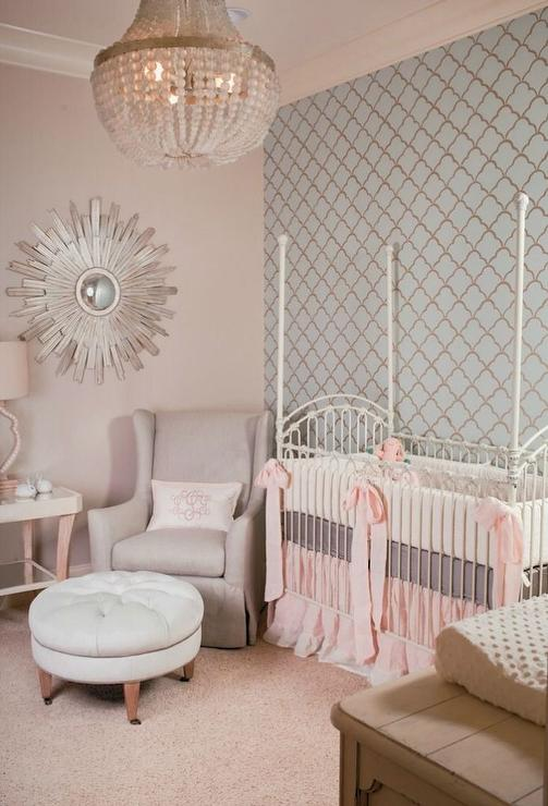 Pink Accent Wall wallpapered nursery accent wall design ideas