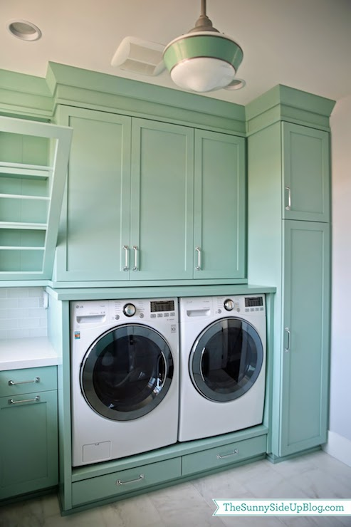 Teal Laundry Rooms Transitional Laundry Room