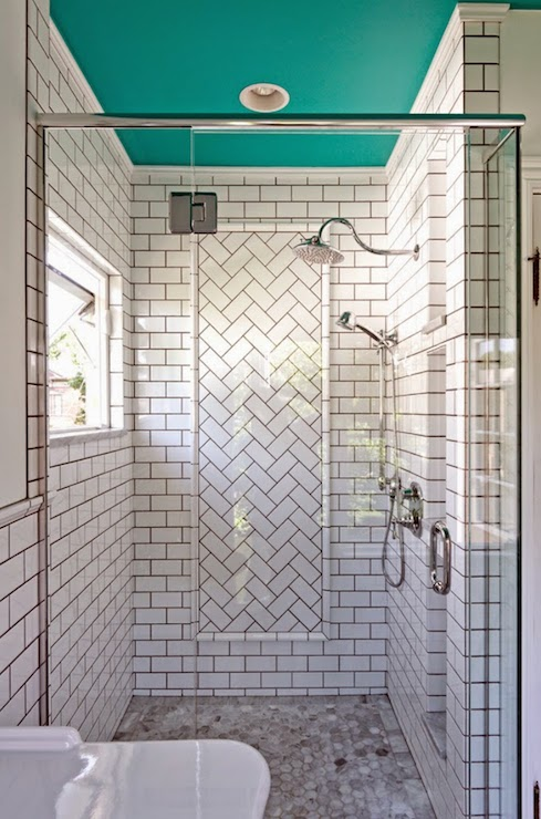 Fabulous Bathroom With Subway Tiled Shower, Highlighted By Black Grout,  Boasting An Outward Opening Window Adjacent To A Herringbone Tiled Accent  Panel With ...