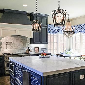 Navy Kitchen Island With Wood Top Design Ideas