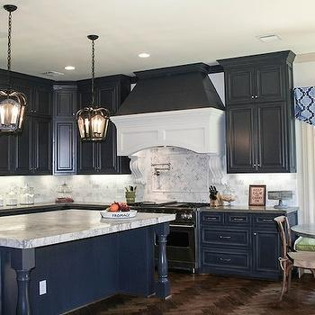 Dark Blue Cabinets - French - kitchen - Aidan Gray Home