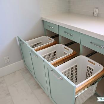 Laundry Room Pull Out Hamper Bins Design Ideas