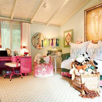 Green Sofa, Transitional, girl's room, Hillary Thomas