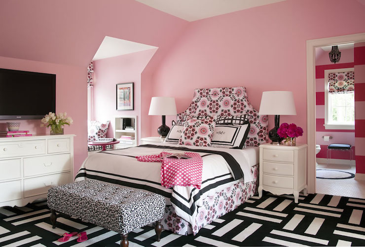 Pink And Black Girlu0027s Room Features Pink Walls Framing Upholstered  Headboard In Rubie Green Portobello Fabric On Queen Bed Dressed In Black  And White Border ...