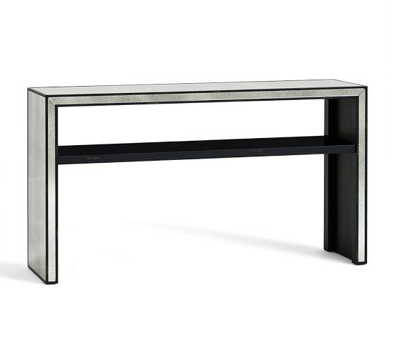 black and white tile marnie silver mirrored console table 30845
