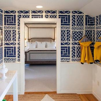 Chinese Lattice Wallpaper, Cottage, laundry room