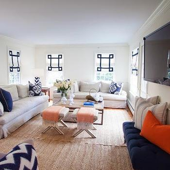 Roll Arm Slipcovered Sofas, Cottage, living room