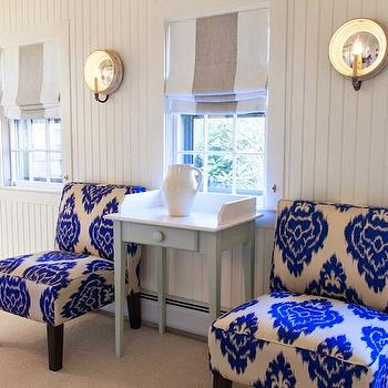 Ikat Slipper Chairs, Cottage, bedroom