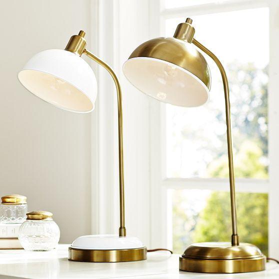 Threshold Brass Strip LED 4-Way Touch Switch Brass Desk Lamp