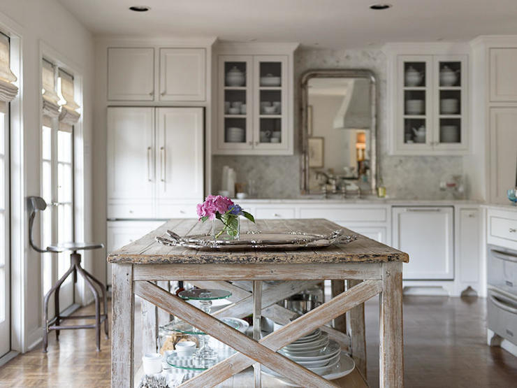 Beautiful French Country Style Kitchen Features A False Cabinet Front Refrigerator  Alongside Glass Front Upper Cabinets Which Flank An Antique Louis Philippe  Silver ...