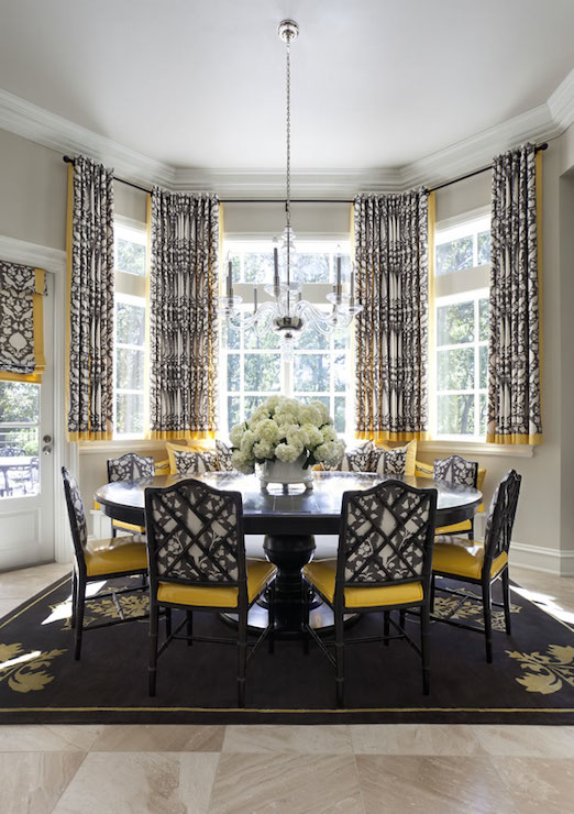 Yellow And Black Dining Room With French Dining Table Contemporary