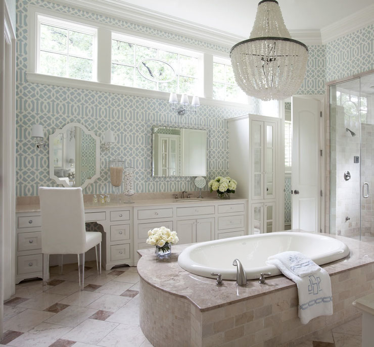 Blue Trellis Wallpaper Transitional Bathroom Tobi
