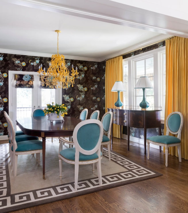 Turquoise dining chairs eclectic dining room tobi - Yellow and blue dining room ...