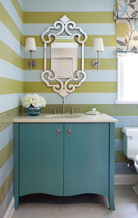 Stunning Bathroom Boasts Upper Walls Painted In White And Yellow Painted  Stripes And Lower Walls Mimicking Upper Walls Clad In White And Yellow  Tiles Laid ...