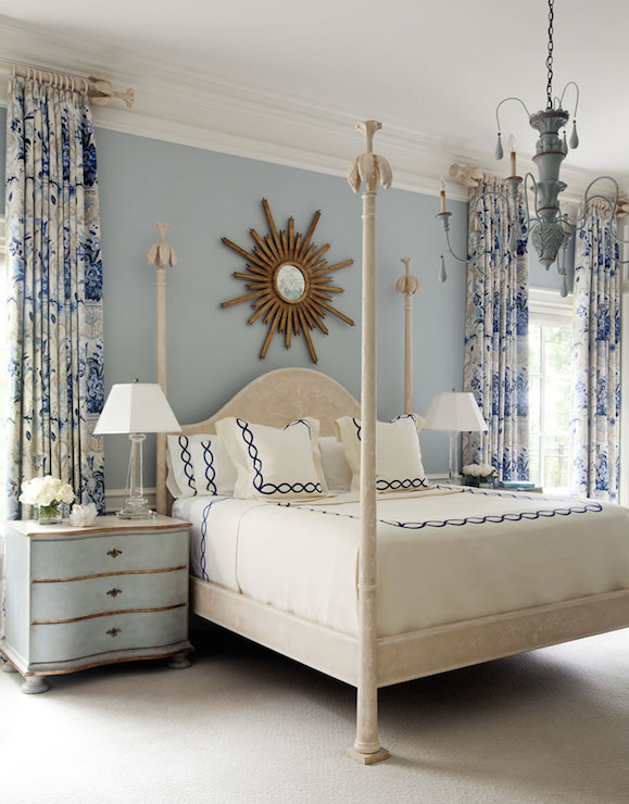 Gray French Poster Crib Design Ideas - French blue bedroom design
