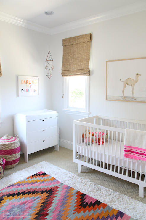 Beautiful Girlu0027s Nursery Boasts Sharon Montrose The Animal Print Shop Baby  Camel Sits Over Babyletto Hudson Crib Across From Modern White Changing  Table ...