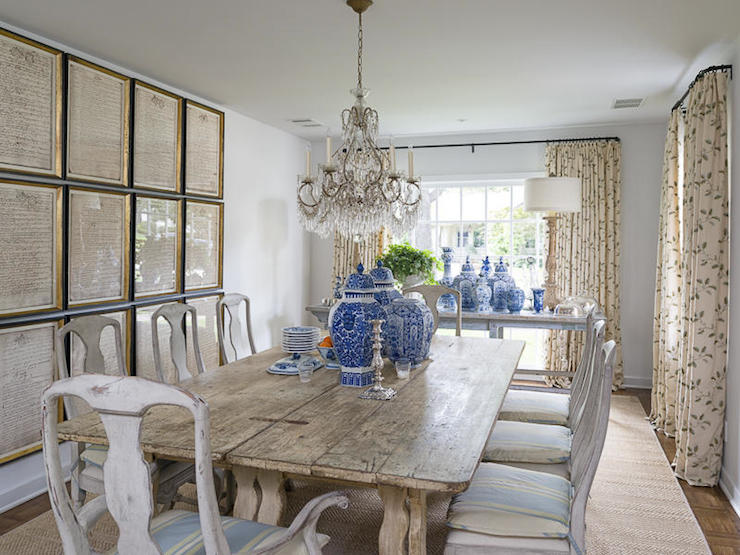 Gorgeous Dining Room With Distressed Shabby Chic Dining Table Topped With A  Collection Of Blue And White Ginger And Happiness Jars Surrounded By  Distressed ...