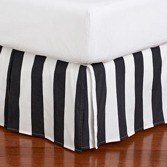 The Emily And Meritt Black And White Circus Stripe Bedskirt