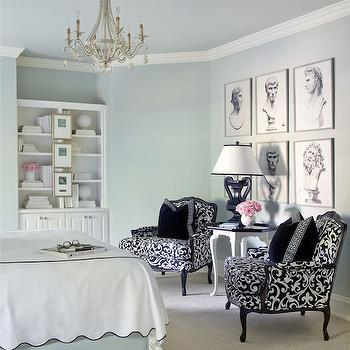 Black and White Chairs, French, bedroom, Tobi Fairley