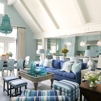 Blue Living Rooms, Cottage, living room, Sherwin Williams Tidewater, Tobi Fairley