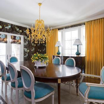 Turquoise Blue Chandelier With Brown And Dining Chairs