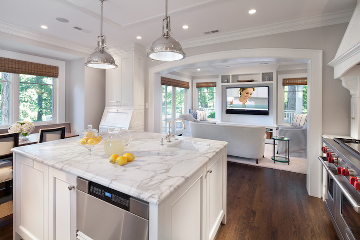 Calacatta Gold Countertops Transitional Kitchen