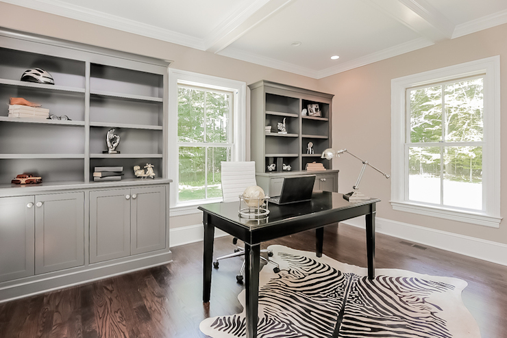 Gray Built Ins Contemporary Den Library Office