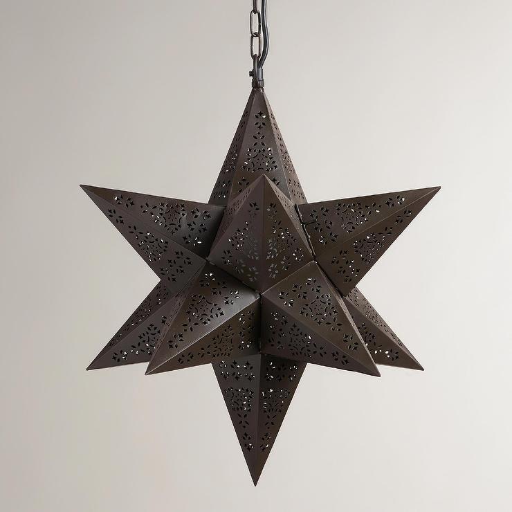 Moravian Bronze Star Hanging Pendant Lamp view full size