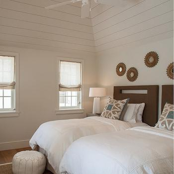 Burlap Headboards, Cottage, bedroom, Laura Hay Decor Design