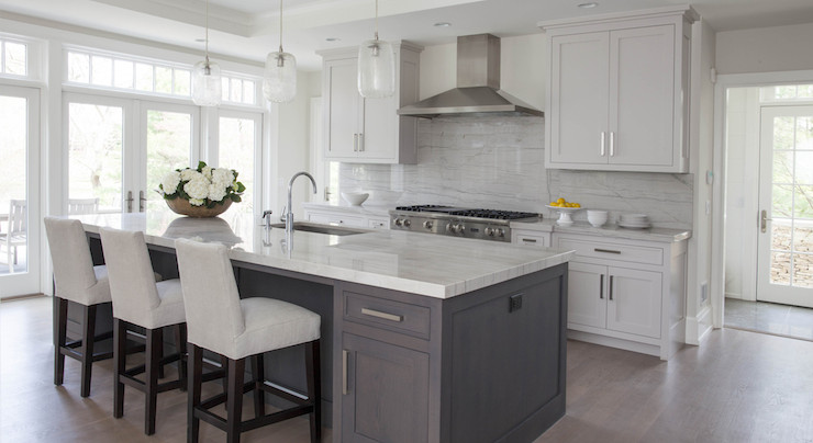 White Quartzite Countertops Contemporary Kitchen