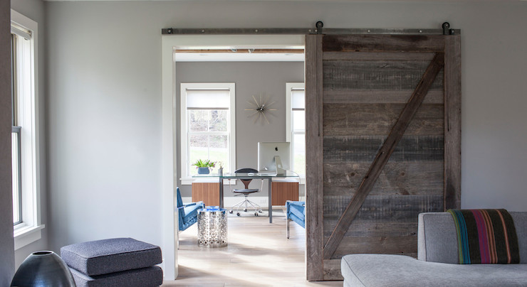 Office Barn Doors Contemporary Living Room Milton