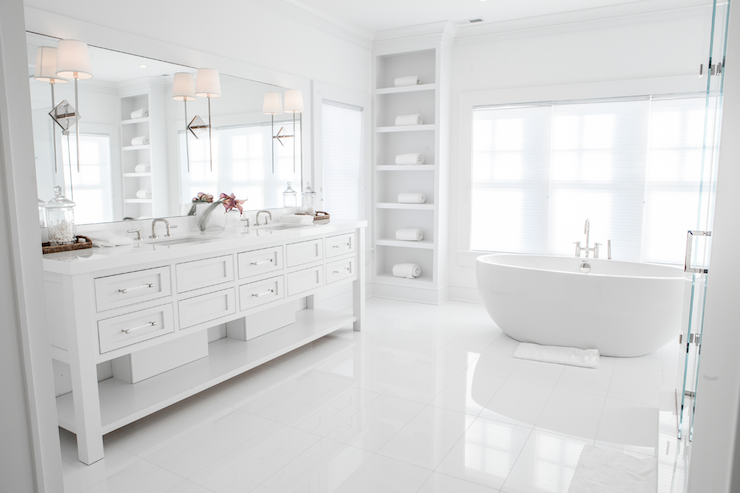 All White Bathrooms Transitional, All White Bathroom