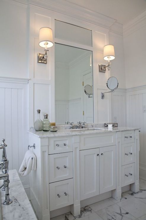 Gray Beadboard Vanity Design Ideas