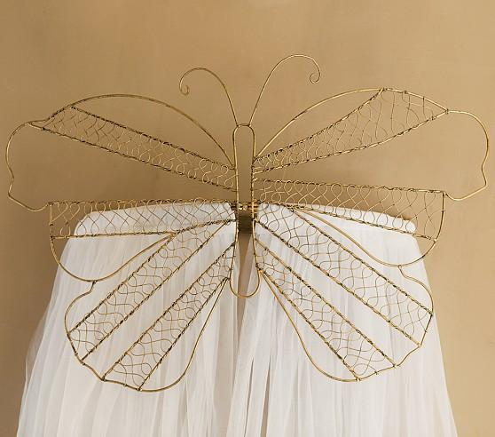 Gold Butterfly Cornice with Tulle Sheers
