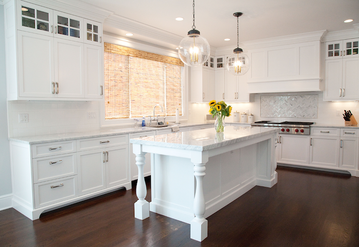 Gorgeous White Kitchen Features White Shaker Cabinets Paired With